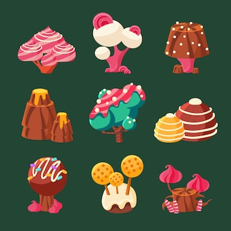 Cartone animato dolce candy land. illustrazione