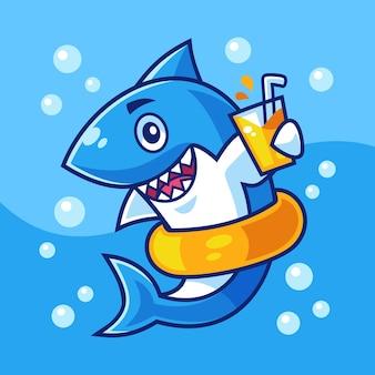 Cartone animato che nuota squalo bere un bicchiere di arancia