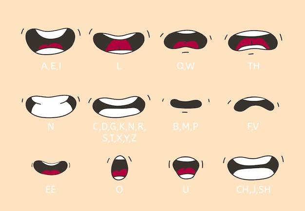 Espressioni di bocca e labbra parlanti dei cartoni animati
