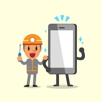 Cartone animato un personaggio tecnico e smartphone