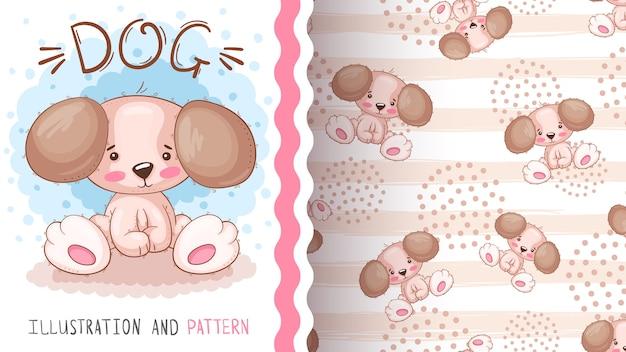 Cartoon teddy dog - seamless pattern