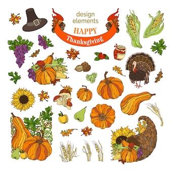 Elementi di design del ringraziamento dei cartoni animati. tacchino, cornucopia, cappello da pellegrino, zucca, mais, grano e altri.