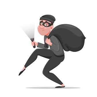 Ladro del fumetto che cammina con attenzione. divertente ladro