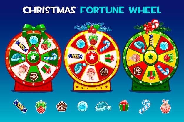 Cartone animato tre opzioni di roulette natalizia.