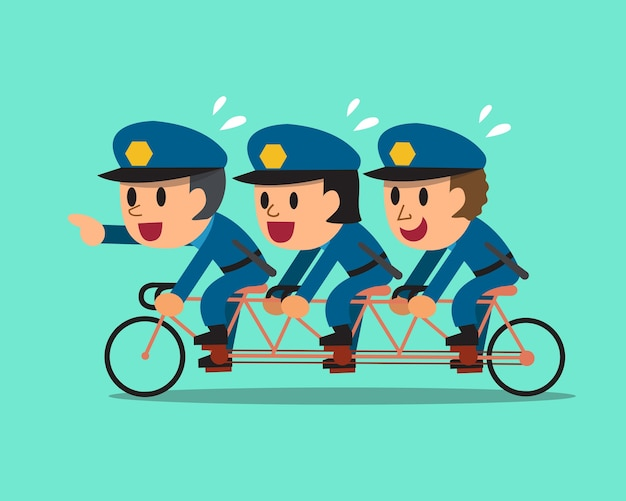 Cartoon tre poliziotti andare in bicicletta in tandem