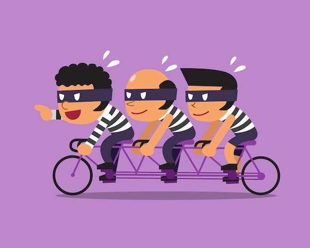 Cartoon tre ladri andare in bicicletta in tandem