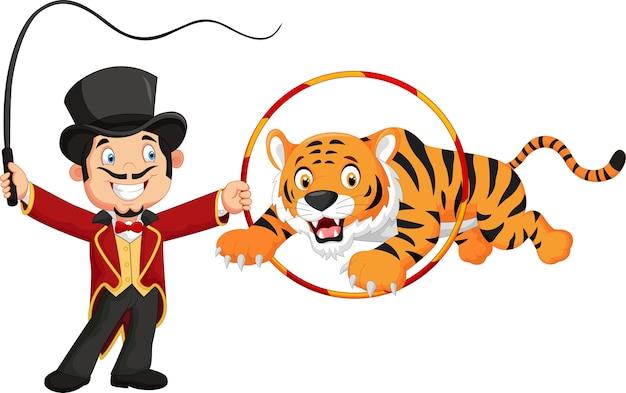 Tigre cartone animato che salta attraverso l'anello