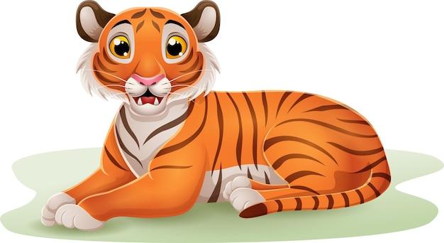 Tigre del fumetto che si siede nell'erba