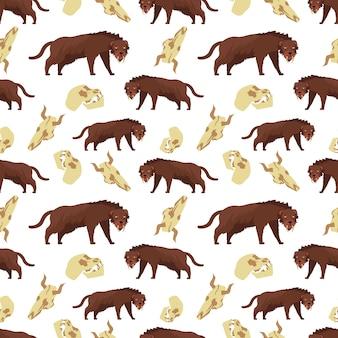Cartoon tigre e teschi seamless pattern