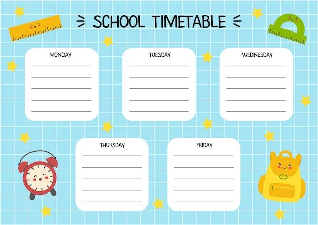Modello di orario dei cartoni animati per bambini con materiale scolastico carino.