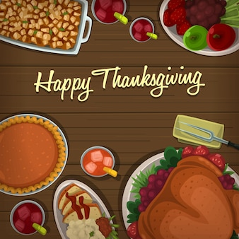 Cartone animato modello di banner piatto di ringraziamento dall'alto in basso