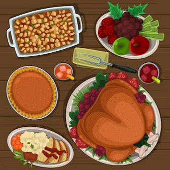 Cartone animato dall'alto in basso piatto di ringraziamento al tavolo
