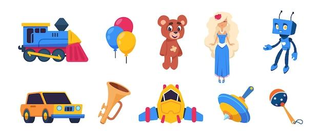 Giocattoli dei cartoni animati. bambole carine, palloncini colorati, giocattoli per il trasporto del treno in auto astronave isolati