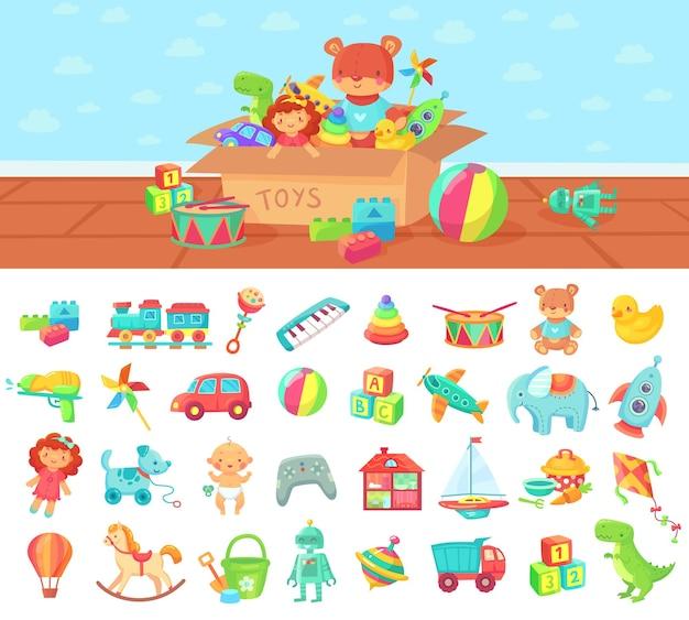 Giocattoli del fumetto. insieme di vettore di bambini giocano, blocco e bambola, macchina a sonagli e elefante carino
