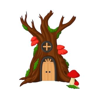 Casa sull'albero del fumetto isolata su bianco
