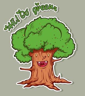 Albero del fumetto con una chiamata per salvare la natura.