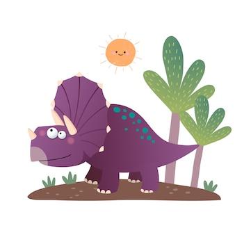 Cartone animato dinosauro triceratopo isolato su bianco