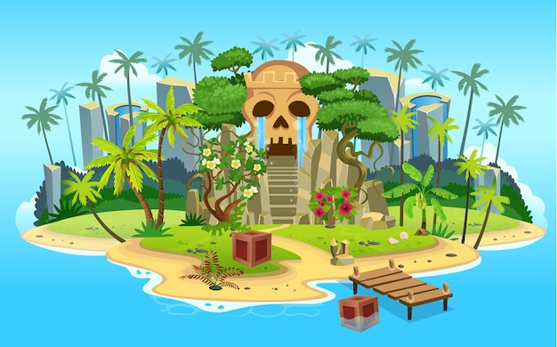 Isola tropicale del fumetto con grotta di montagna del cranio con scale, palme. montagne, oceano blu, fiori e viti.