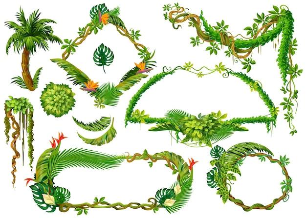 Piante tropicali del fumetto. rami di liana e foglie della giungla della foresta, elementi della cornice di gioco con spazio per il testo. piante isolate vettoriali impostate su sfondi bianchi