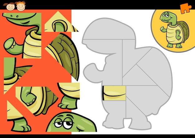 Cartoon turtle jigsaw puzzle game Vettore Premium