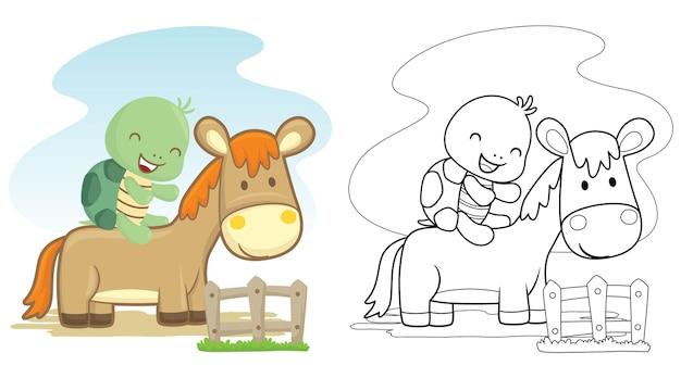 Cartone animato di giro tartaruga a cavallo in un cortile