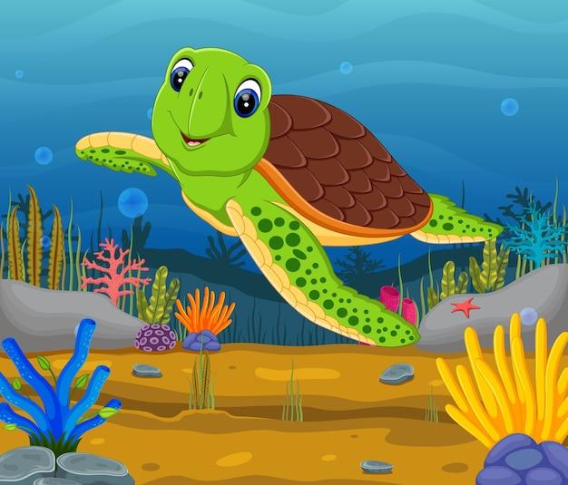 Tartaruga fumetto sott'acqua