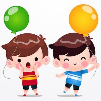 Cartoon twins cute little boys holding palloncino