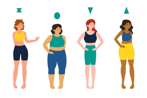 Tipi di cartone animato di raccolta di forme del corpo femminile
