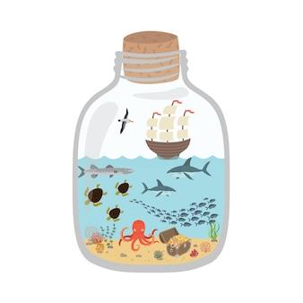 Cartoon mondo sottomarino in una bottiglia Vettore Premium