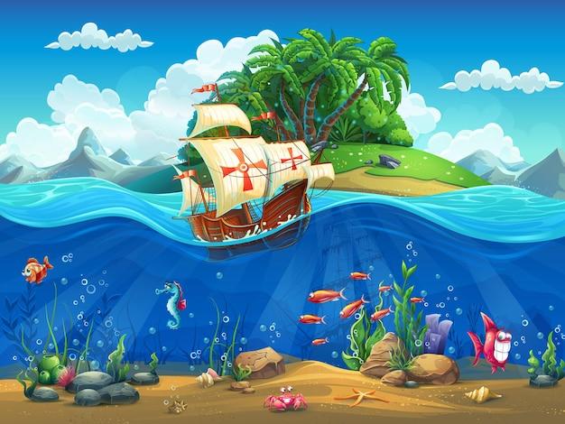 Mondo sottomarino del fumetto con pesci, piante, isola e caravella