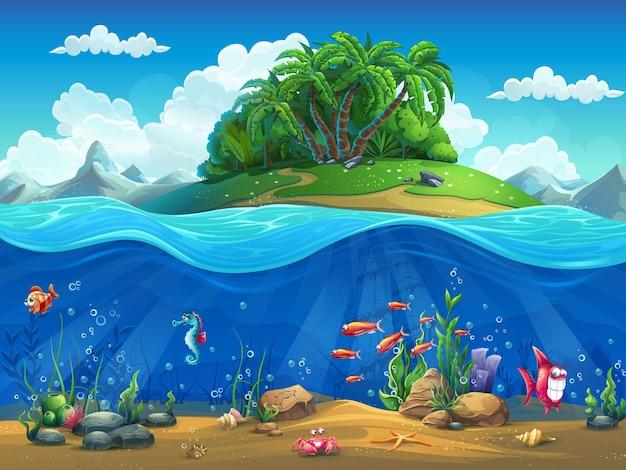 Mondo sottomarino del fumetto con pesci, piante, isola