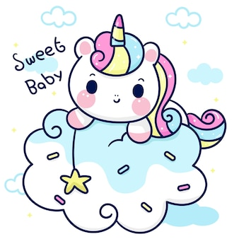 Unicorno cartone animato che cattura stella su nuvola di caramelle simpatico pony kawaii animale