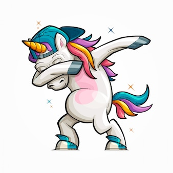Cartoon unicorn dabbing illustration