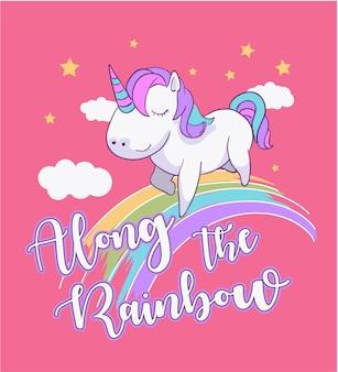Illustrazione di unicorno di cartone animato su arcobaleno