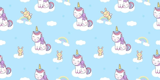 Cartone animato unicorno senza cuciture simpatico pony con coniglietto su nuvola kawaii animal