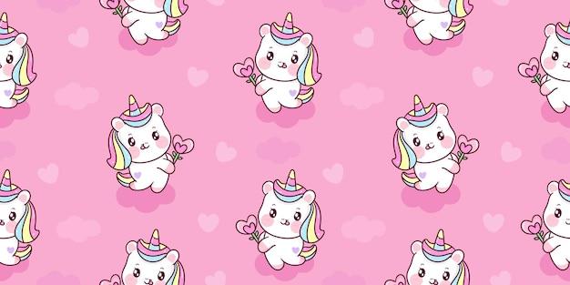Modello senza cuciture di unicorno del fumetto che tiene cuore fiore carino pony kawaii animale