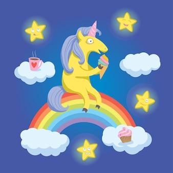 Unicorno del fumetto che si siede sull'arcobaleno e mangia il gelato.