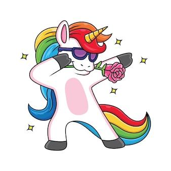 Unicorno del fumetto con una posa fresca con una rosa