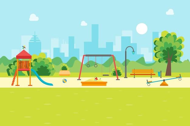 Parco giochi per bambini del parco urbano dei cartoni animati per giochi e attività, stile design piatto