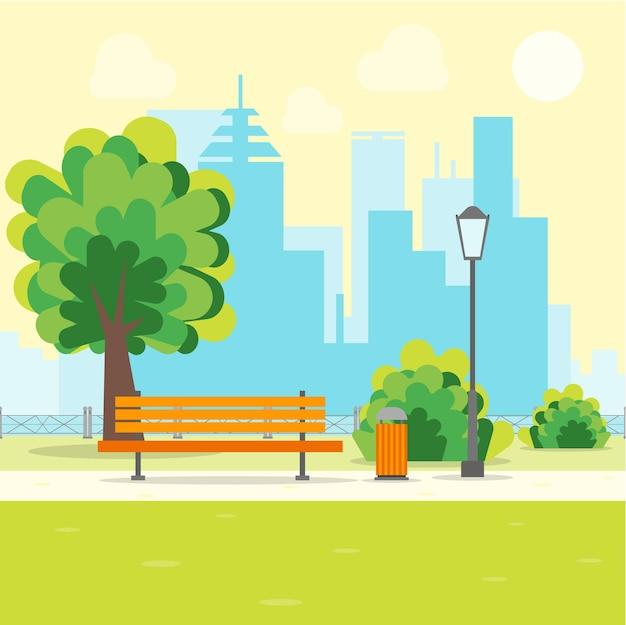 Parco urbano dei cartoni animati con panca su uno stile di design piatto di sfondo del paesaggio