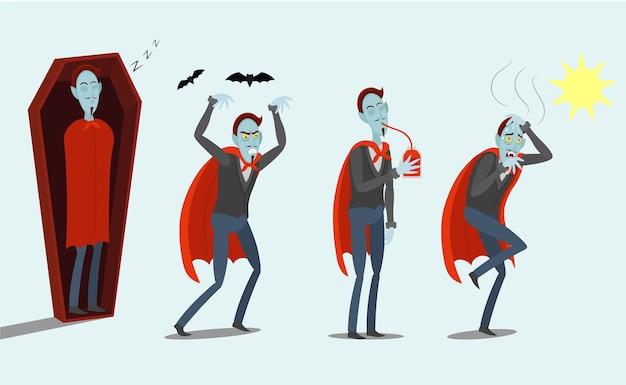 Vampiri dei cartoni animati. un vampiro che dorme nella bara. arrabbiato. bere un sacco di sangue. il vampiro è una furia del sole.