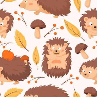 Reticolo senza giunte di autunno del fumetto con caratteri di ricci. sfondo con foglie secche gialle, funghi di bosco e ramoscelli con frutti di bosco.