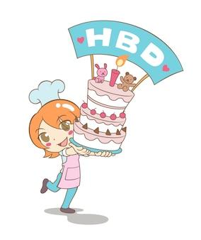 Vettore del fumetto della torta della torre della tenuta della ragazza per il compleanno.