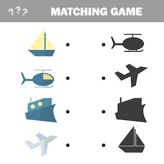 Cartoon illustrazione vettoriale di educazione shadow matching game per bambini in età prescolare - transport