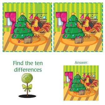 Fumetto illustrazione vettoriale di trovare differenze compito educativo per bambini in età prescolare con rooster