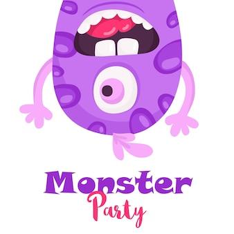 Un fumetto illustrazione vettoriale di una festa di celebrazione di mostri sciocchi felici