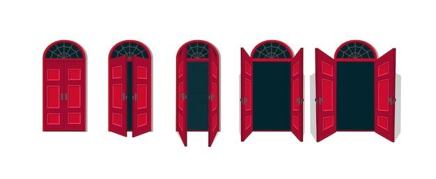 Fumetto illustrazione vettoriale delle porte aperte e chiuse.