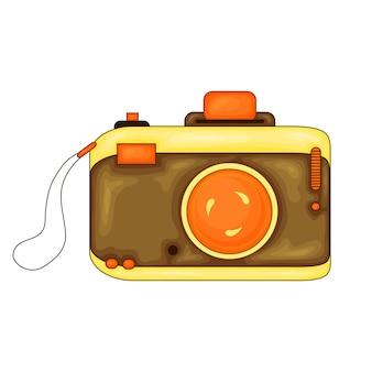 Fumetto illustrazione vettoriale della macchina fotografica. elemento di design in stile cartone animato per adesivo, stampa, poster, sito, album, abbigliamento. vettore.