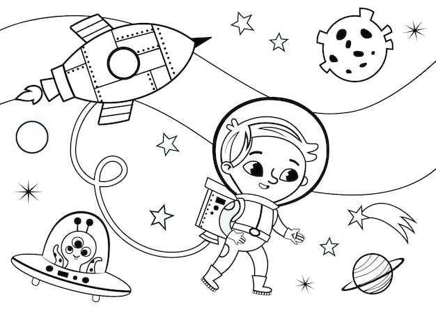 Fumetto illustrazione vettoriale dello spazio e del piccolo astronauta attività da colorare per bambini