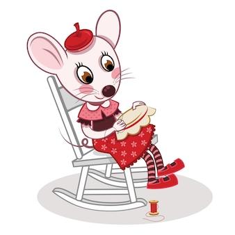Attività di cucito del topo di vettore del fumetto illustrazione vettoriale